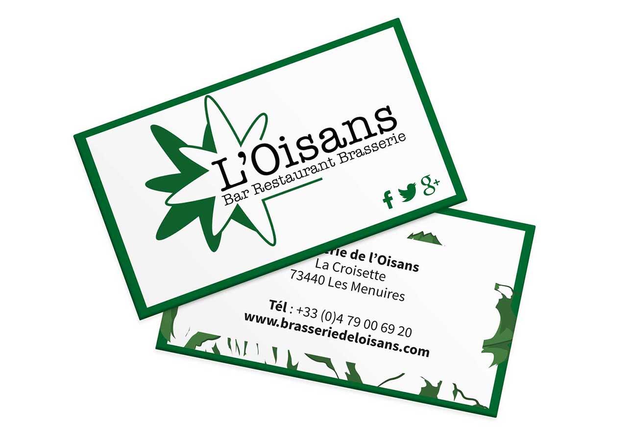 Cration De Diffrents Lments Communication Pour La Brasserie LOisans Aux Menuires Ici Des Cartes Visite