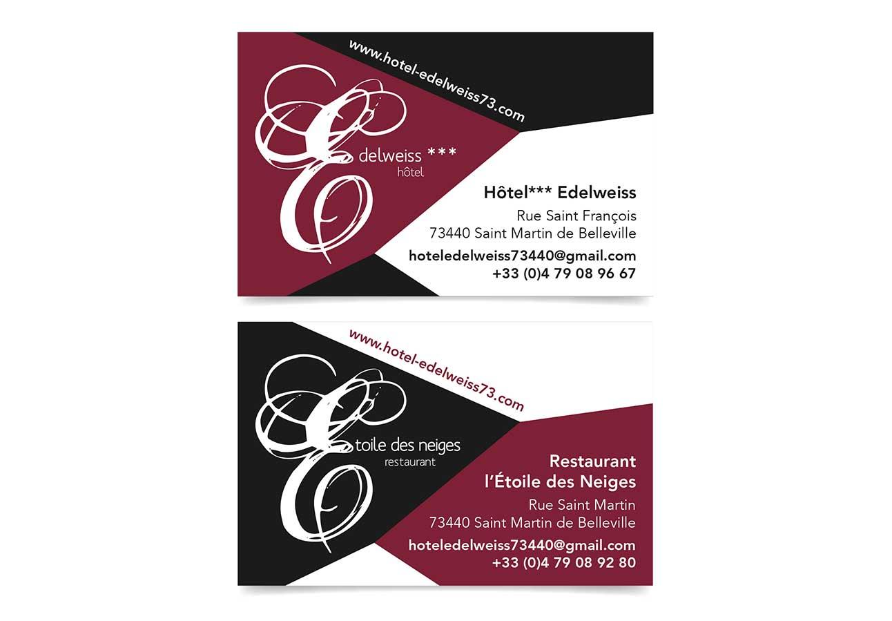 Cration Des Cartes De Visite Pour LHtel Edelweiss Et Le Restaurant LEtoile Neiges Saint Martin Belleville